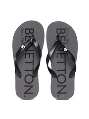 United Colors of Benetton Men Black Flip-Flops