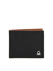 United Colors of Benetton Men Black Leather Wallet
