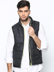 United Colors of Benetton Men Black Sleeveless Jacket