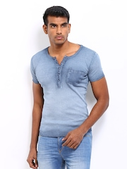 United Colors of Benetton Men Blue Henley T-shirt
