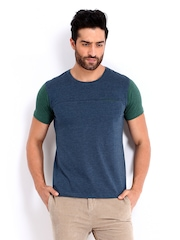 United Colors of Benetton Men Blue Melange T-shirt