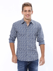 United Colors of Benetton Men Blue Printed Casual Shirt