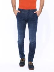 United Colors of Benetton Men Blue Slim Fit Corduroy Trousers