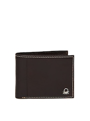 United Colors of Benetton Men Dark Brown Leather Wallet