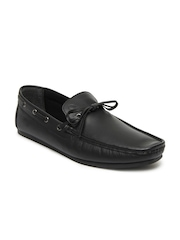 United Colors of Benetton Men Black Leather Boat Shoes