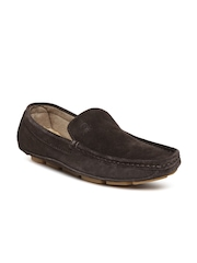 United Colors of Benetton Men Dark Brown Leather Loafers