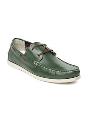 United Colors of Benetton Men Green Boat Shoes