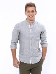 United Colors of Benetton Men Grey Linen Casual Shirt