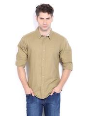 United Colors of Benetton Men Khaki Linen Blend Casual Shirt