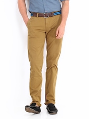 United Colors of Benetton Men Mustard Brown Slim Fit Chino Trousers