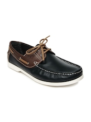 United Colors of Benetton Men Navy & Brown Leather Boat Shoes