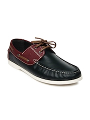 United Colors of Benetton Men Navy & Maroon Leather Boat Shoes