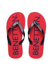 Men Navy & Red Flip-Flops United Colors Of Benetton