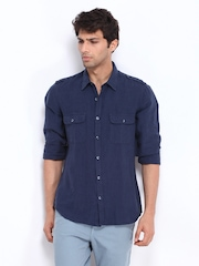 United Colors of Benetton Men Navy Linen Casual Shirt