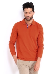 United Colors of Benetton Men Orange Polo T-shirt