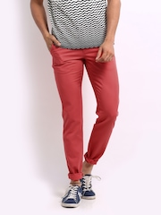United Colors of Benetton Men Pink Slim Fit Trousers
