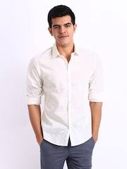 United Colors of Benetton Men White Printed Casual Shirt