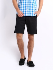 United Colors of Benetton Men Black Basic Twill Casual Shorts