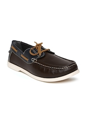 United Colors of Benetton Men Dark Brown Boat Shoes