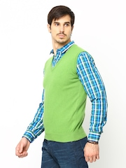 United Colors of Benetton Men Green Wool Blend Sweater
