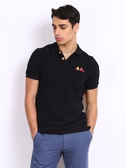 United Colors of Benetton Men Black Polo T-shirt