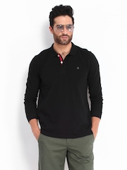 United Colors of Benetton Men Black Polo T-shirt