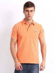 United Colors of Benetton Men Orange Polo T-shirt