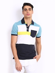 United Colors of Benetton Men White & Navy Polo T-shirt