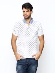 United Colors of Benetton Men White Printed Polo T-shirt