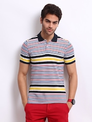 United Colors of Benetton Men White Striped Polo T-shirt
