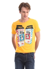 United Colors of Benetton Men Yellow Printed T-shirt