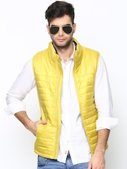 United Colors of Benetton Men Yellow Sleeveless Jacket