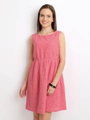 United Colors of Benetton Pink Fit & Flare Lace Dress