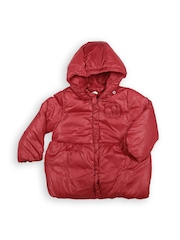 United Colors of Benetton Kids Maroon Padded Jacket with Detachable Hood