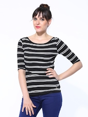 United Colors of Benetton Women Black & White Striped Top
