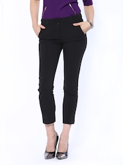 Women Black Slim Fit Formal Trousers United Colors Of Benetton