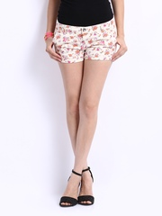 United Colors of Benetton Women Cream Coloured Floral Print Shorts