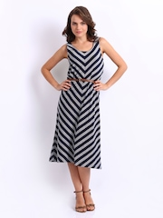 United Colors of Benetton Navy & Grey Striped A-line Dress