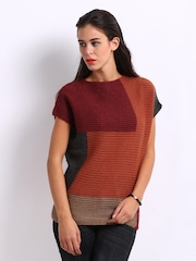 United Colors of Benetton Women Orange & Red Mohair Blend Sweater