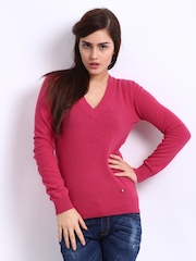 United Colors of Benetton Women Pink Wool Blend Sweater