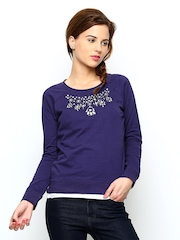 United Colours Of Benetton Women Purple Sweatshirt United Colors Of Benetton