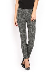 United Colors of Benetton Women Grey Printed Cotton Stretch Ankle-Length Leggings