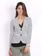 United Colors of Benetton Women White & Navy Striped Jacket
