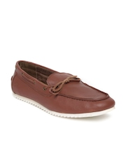 United Colours of Benetton Men Brown Leather Boat Shoes