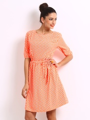 Uolo Neon Orange & Off-White Printed Fit & Flare Dress