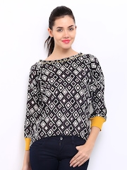 Uolo Women Black & Off-White Printed Top