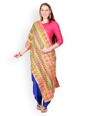 Uptown Galeria Women Multicoloured Phulkari Embroidered Dupatta