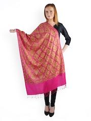 Uptown Galeria Women Pink Embroidered Woollen Shawl