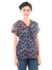 Uptown Galeria Women Blue Printed Top