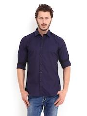 V Dot Men Navy & Black Checked Slim Fit Smart Casual Shirt